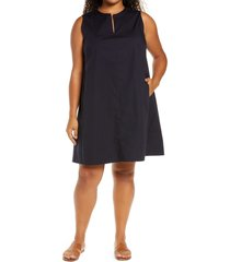 plus size women's eileen fisher sleeveless zip neck dress