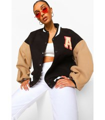 oversized varsity jas met letter patches, zwart