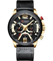 reloj deportivo hombre cronografo curren 8329 negro dorado