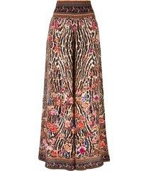 camilla shirred waist wide-leg trousers - brown