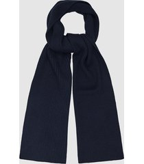 reiss rafferty - ribbed knitted scarf in navy, mens