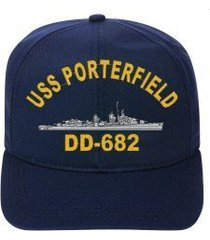 uss porterfield dd-682 embroidered ship cap