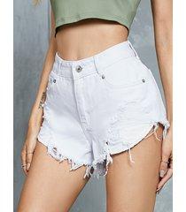 pantalones cortos de mezclilla con dobladillo con borlas y bolsillos laterales blancos