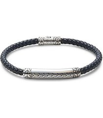 classic chain sterling silver & leather braided bracelet