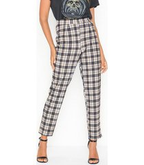 nly trend slit check pants byxor