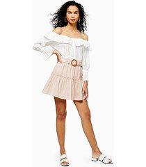 pink linen blend tiered mini skirt - pale pink