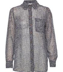 printed georgette blouse lange mouwen multi/patroon ganni