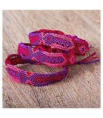 cotton wristband bracelets, 'intriguing geometry' (set of 3) (mexico)