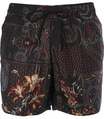 etro rear logo patched floral printed shorts