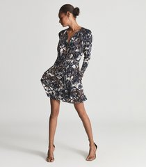 reiss antonia - printed jersey dress in navy, womens, size 14