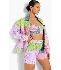 oversized spijkerjas met bandana patches, pink