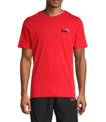 puma men's embroidered logo short sleeve t-shirt - red - size m