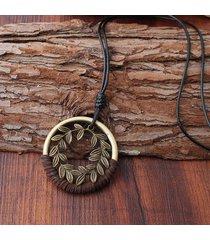 collane del pendente del pendente della foglia della lega del ramo etnico corda lunga delle collane del maglione delle donne dell'annata per le donne