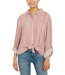 hippie rose juniors' oversized tie-front shirt