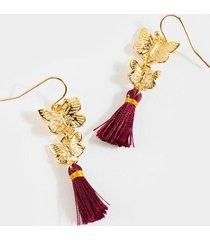 lia butterfly tassel earrings - burgundy