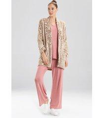 leopard topper robe, women's, beige, size l/xl, n natori