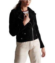 superdry women's rylee suede biker jacket