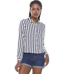 blusa manga larga print navy rayas  corona