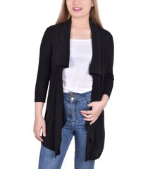 women's 3/4 sleeve solid cardigan with wide collar