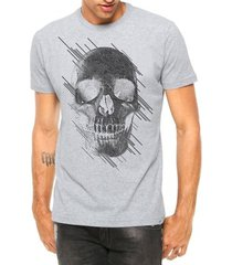 camiseta criativa urbana caveira estilizada manga curta - masculino