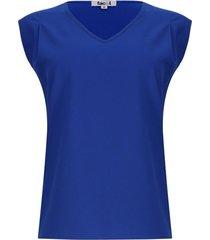 blusa mujer m/s unicolor color azul, talla s