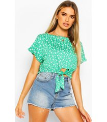ditsy floral tie front top, green