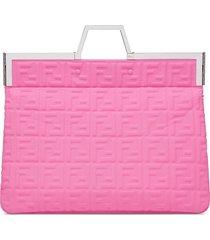 fendi fendi prints on flat tote bag - pink