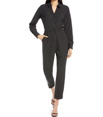 women's adelyn rae anya pinstripe long sleeve jumpsuit, size x-small - black