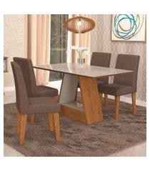 conjunto de mesa de jantar retangular alana com vidro e 4 cadeiras milena suede chocolate e off white