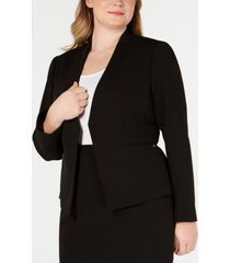 calvin klein plus size open-front soft crepe jacket