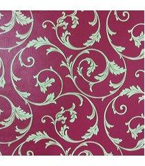 kit 3 rolos de papel de parede fwb lavã¡vel vermelho folhas bege - bege/vermelho - dafiti