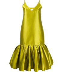 marques'almeida satin drop waist dress - green