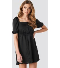 na-kd boho square neck buttoned mini dress - black