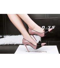pp343 elegant pointy pump w black bowtie, patent leather,us size 4-8.5, nude