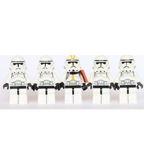 lego® star wars - 5 clone trooper army - ep3 yellow white clone + custom cape