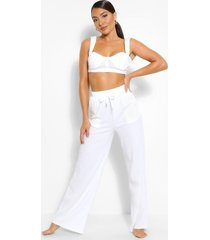 geribbelde bralette en wide leg broek lounge set, wit