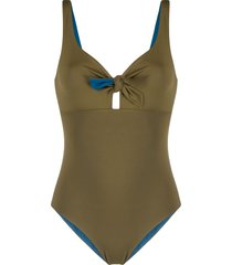 fisico reversible knot-detail swimsuit - green