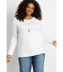 maurices plus size womens 24/7 solid long sleeve tee white