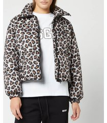 msgm women's leopard jacket - beige - it 40/uk 8 - beige