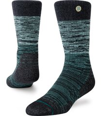 men's stance agate crew socks, size large - blue