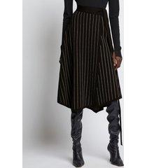 proenza schouler chalk stripe knit wrap skirt 10212 black/ecru xs