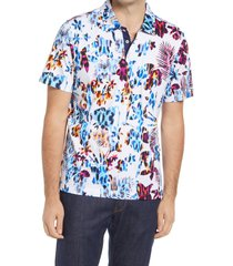 bugatchi tropical print polo shirt, size small in white at nordstrom