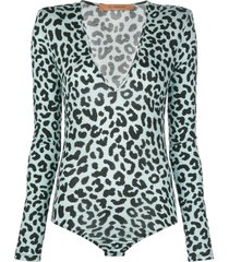 andamane structured-shoulder leopard-print bodysuit - blue