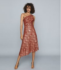 reiss delilah - one shoulder metallic dress in red, womens, size 14