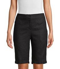 straight-leg organic linen bermuda shorts