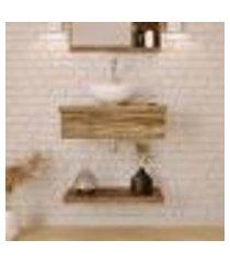 conjunto para banheiro bancada com cuba r30 redonda e prateleira city 605 carvalho dark