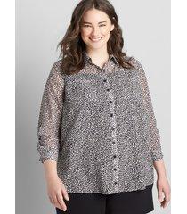 lane bryant women's no peek long-sleeve button-front camp shirt 34/36 marble print