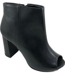ankle boot couro capodarte salto grosso feminina - preto - 35 - feminino