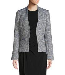 heathered open-front blazer