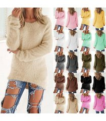 fashion women casual tops mohair blend fuzzy blouse pullover jumper loose sweate